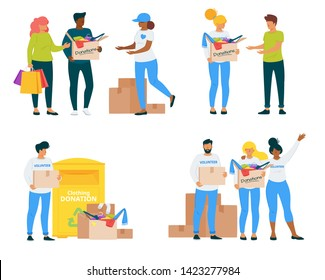 Volunteers with clothing donations vector illustrations set. Voluntary center social workers flat characters pack. Young students sharing garment, charity isolated cliparts. Philanthropy and charity