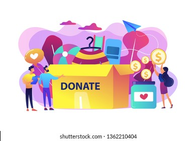 Volunteers collecting goods for charity into huge donation box and donating coins into jar. Donation, charity donation funds, gift in kind concept. Bright vibrant violet vector isolated illustration