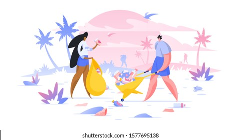 Volunteers collecting trash on beach flat vector illustration. Man and woman cartoon characters picking disposable waste in bag. Public area, dirty park cleaning. Nature protection and conservation
