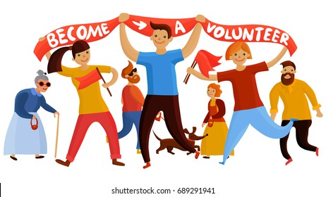 Volunteers composition with young people and teenage kids flat cartoon style characters holding banner and flags vector illustration
