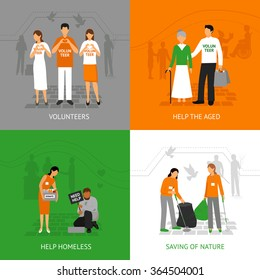 Volunteers design concept set with people helping homeless and seniours isolated vector illustration