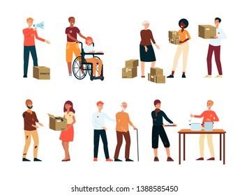 Volunteers donate food to homeless and needy people vector illustration isolated on white background. Voluntary free help to elderly and disabled people and charity work.