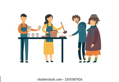 Volunteers feed the poor, beggar and homeless people with food, charity and help. Isolated flat vector illustration.