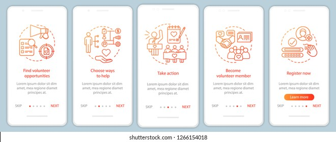 Volunteers finding onboarding mobile app page screen with linear concepts. Humanitarian help. Volunteer program walkthrough steps graphic instructions. UX, UI, GUI vector template with illustrations