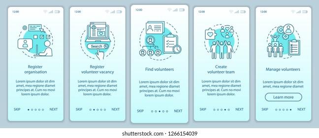 Volunteers finding onboarding mobile app page screen vector template. Humanitarian help. Volunteer program walkthrough website steps with linear illustrations. UX, UI, GUI smartphone interface concept
