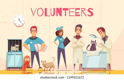 Volunteers flat poster with veterinarian in vet clinic examining sick pet delivered by volunteers vector illustration
