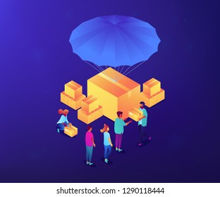 Volunteers giving humanitarian aid boxes delivered with parachute to refuges. Humanitarian aid, material assistance, governmental help concept. Ultraviolet neon vector isometric 3D illustration.