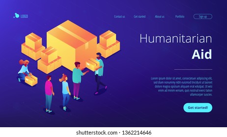 Volunteers giving humanitarian aid boxes delivered with parachute to refuges. Humanitarian aid, material assistance, governmental help concept. Isometric 3D website app landing web page template
