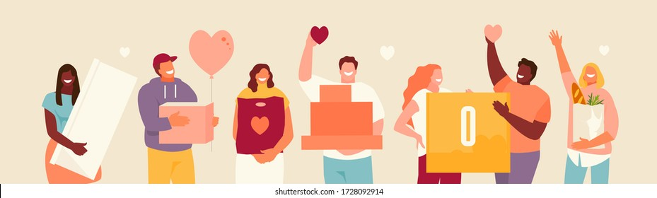 Volunteers group with donations in their hands. Vector illustration - Shutterstock ID 1728092914