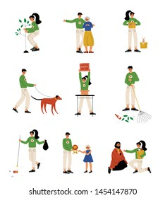 Volunteers Helping Elderly, Homeless People, Animals, Planting Trees and Gathering Garbage Set, Volunteering, Charity and Supporting People Vector Illustration