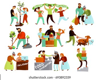 Volunteers helping people set of isolated cartoon style compositions of young humanitarian characters in various situations vector illustration