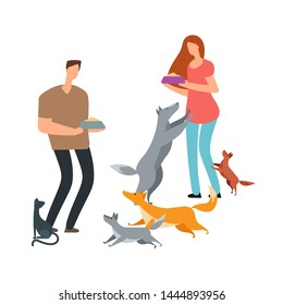 Volunteers and homeless dogs and cat vector illustration. Adoption and help pets dog and cat
