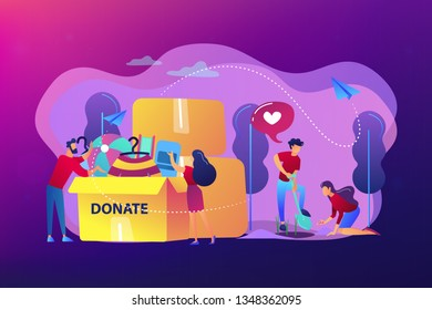 Volunteers like helping, planting seeds and donating clothes and toys into a box. Volunteering, volunteer services, altruistic job activity concept. Bright vibrant violet vector isolated illustration
