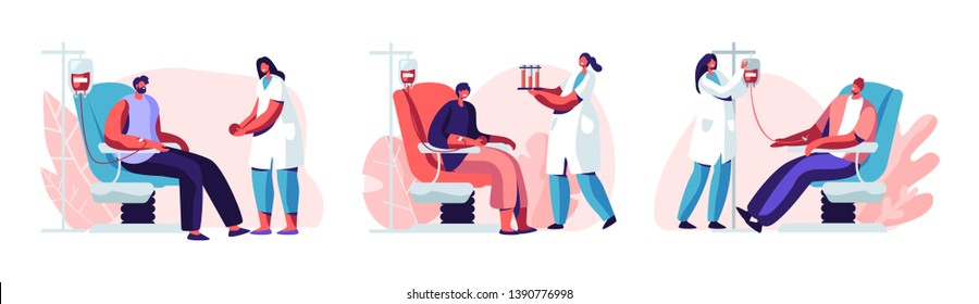 Volunteers Male Characters Sitting in Medical Hospital Chairs Donating Blood. Doctor Woman Nurse Take it in Test Flasks, Donation, World Blood Donor Day, Health Care. Cartoon Flat Vector Illustration