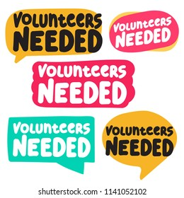 Volunteers needed. Set of badges, icons. Vector illustrations on white background.