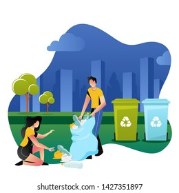 Volunteers picking up plastic garbage outdoor. Volunteering, ecology and environment concept. Vector cartoon flat illustration. People sorting and recycling waste.