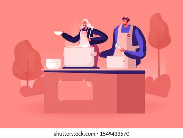 Volunteers Serving Food to Homeless People. Young Man and Woman Wearing Chief Uniform Aprons Pouring Warm Food to Plate for Beggars. Night Shelter Emergency Housing. Cartoon Flat Vector Illustration
