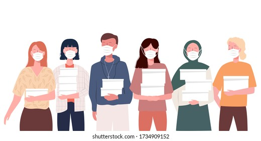 volunteers wearing health mask from various ethnic groups work together bring food donations to the communities affected by corona virus. Modern flat illustration