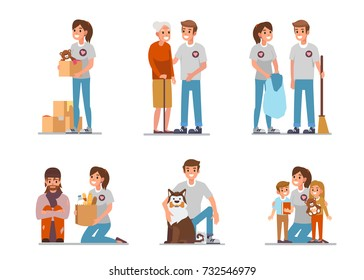 Volunteers at work. Flat style vector illustration isolated on white background.