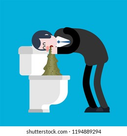 Vomit man in toilet. Puke Vector illustration. Retching cartoon. Vomitus