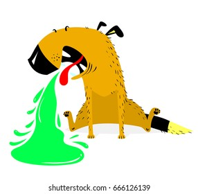 Vomiting dog.Sick dog.  Pet pukes with green vomit. Vector illustration with cartoon animal in disease.