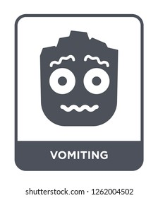 vomiting icon vector on white background, vomiting trendy filled icons from Smiles collection, vomiting simple element illustration