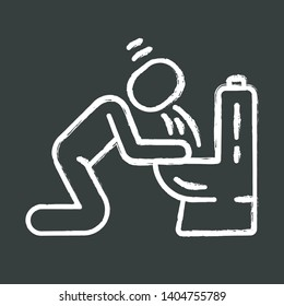 Vomiting, nausea chalk icon. Allergy, food poisoning, hangover symptom. Human throwing up, puking in bathroom. Pregnancy morning sickness, toxicosis. Isolated vector chalkboard illustration