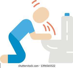 Vomiting, nausea flat design long shadow color icon. Allergy, food poisoning, hangover symptom. Human throwing up, puking in bathroom. Pregnancy sickness, toxicosis. Vector silhouette illustration