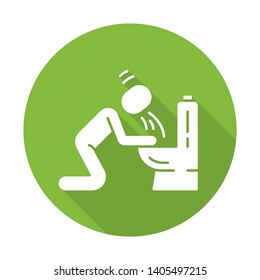 Vomiting, nausea flat design long shadow glyph icon. Allergy, food poisoning, hangover symptom. Bacterial, viral infection. Human throwing up, puking in bathroom. Vector silhouette illustration