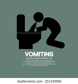 Vomiting Person Graphic Symbol Vector Illustration