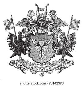 Von Bismarck - family coat of arms / vintage illustration from Meyers Konversations-Lexikon 1897