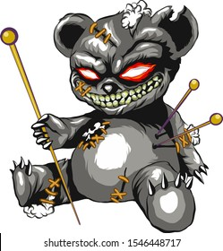 Voodoo bear pierced with pins