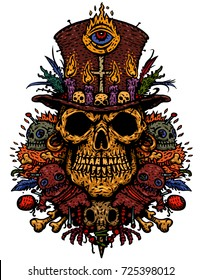 The voodoo character is the priest's skull in hat with magic items, voodoo dolls, feathers, needles, and bird skull. Vector illustration for t-shirts