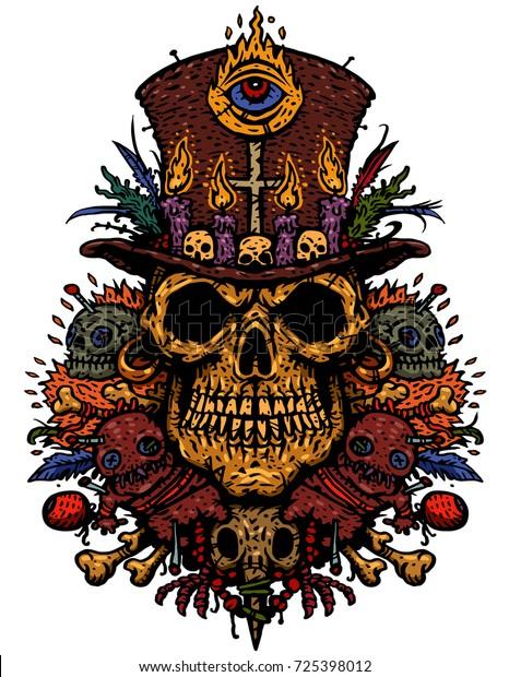Voodoo Character Priests Skull Hat Magic Stock Vector