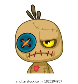 Voodoo Doll. Cartoon Cursed doll. Vector illustration in cartoon style. Isolated on a white background. Vector illustration for Halloween.
