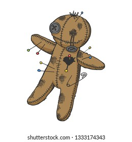 Voodoo doll color sketch engraving vector illustration. Scratch board style imitation. Hand drawn image.