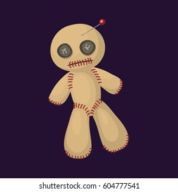 Voodoo doll flat icon punishment sign spirituality anger magic toy and halloween needle witchcraft horror symbol vector illustration.