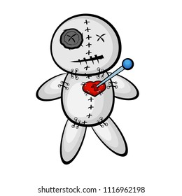 Voodoo doll with heart. cartoon style
