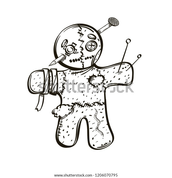 Voodoo Doll Outline Vector Illustration Isolated Stock Vector
