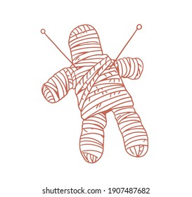 Voodoo doll pierced with needles and stabbed with pins for witchcraft, wizardry and casting spells on person. Handmade poppet. Vector illustration isolated on white background