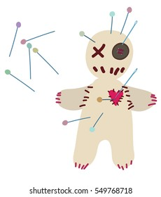 Voodoo doll pierced with pins in heart on isolated background