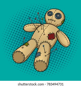 Voodoo doll pop art retro vector illustration. Comic book style imitation.