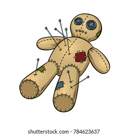 Voodoo doll pop art retro vector illustration. Isolated image on white background. Comic book style imitation.