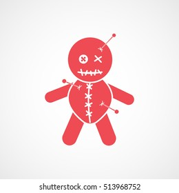 Voodoo Doll Red Flat Icon On White Background