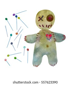 Voodoo doll with set of pins and needles. .