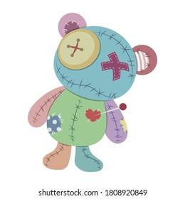 Voodoo doll teddy bear vector illustration isolated on white background. Rag voodoo bear doll vector cartoon. Halloween cursed doll.