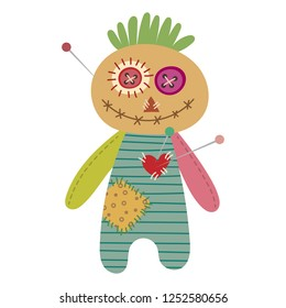 Voodoo doll vector illustration isolated on white background. Pastel voodoo doll with needles. Boy voodoo doll with needles.
