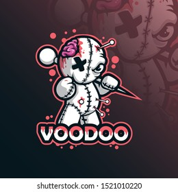 voodoo mascot logo design vector with modern illustration concept style for badge, emblem and tshirt printing. funny voodoo illustration.