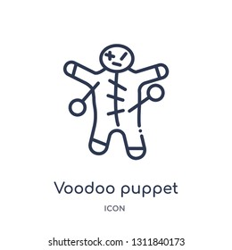 voodoo puppet icon from other outline collection. Thin line voodoo puppet icon isolated on white background.