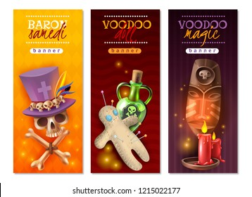 Voodoo religious occult practices with doll colorful pins love hate revenge messages 3 vertical banners vector illustration